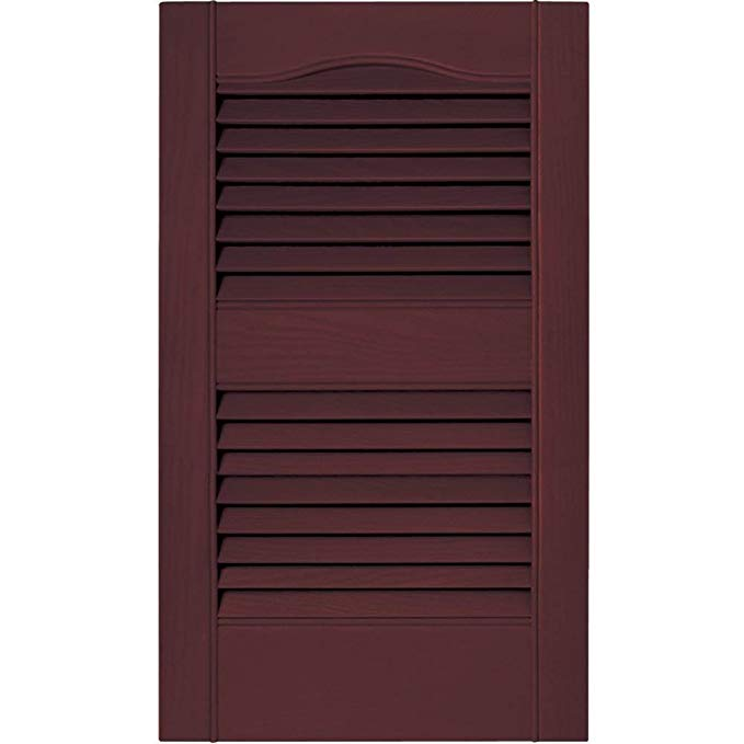 Mid America 15 in. Vinyl Louvered Shutters in Bordeaux - Set of 2 (14.5 in. W x 1 in. D x 42.75 in. H (5.66 lbs.))