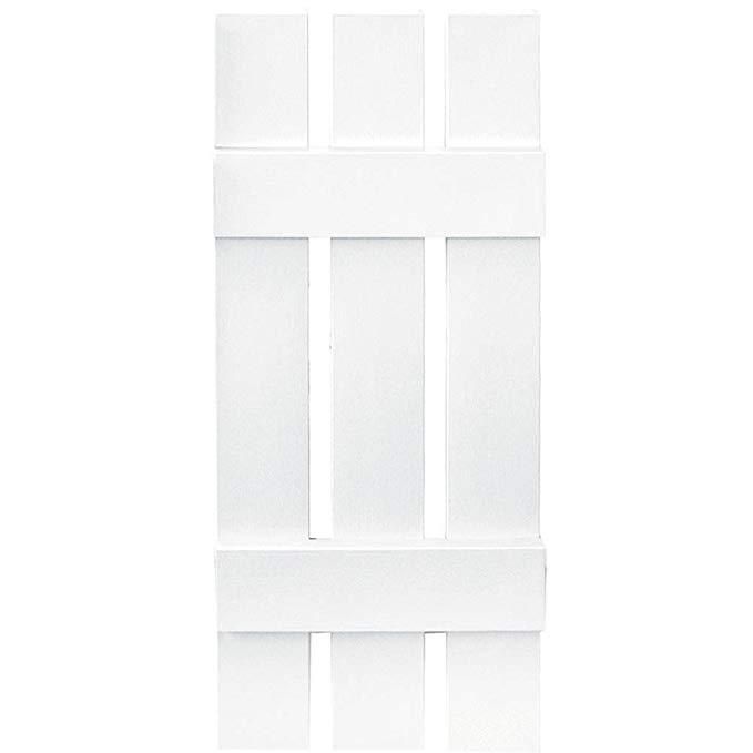 Builders Edge Board-N-Batten 3 Boards Spaced in White - Set of 2 (12 in. W x 1 in. D x 47 in. H (6.7 lbs.))