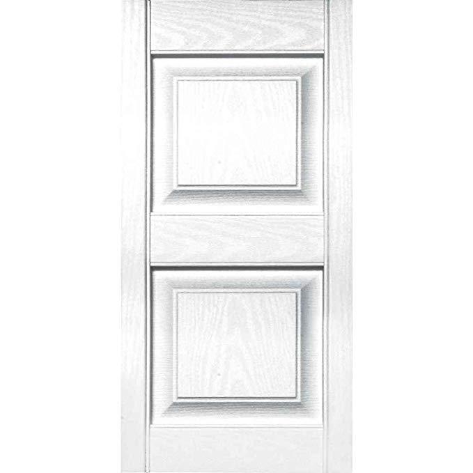 Builders Edge 15 in. Vinyl Raised Panel Shutters in White - Set of 2 (14.75 in. W x 1 in. D x 34.875 in. H (4.37 lbs.))