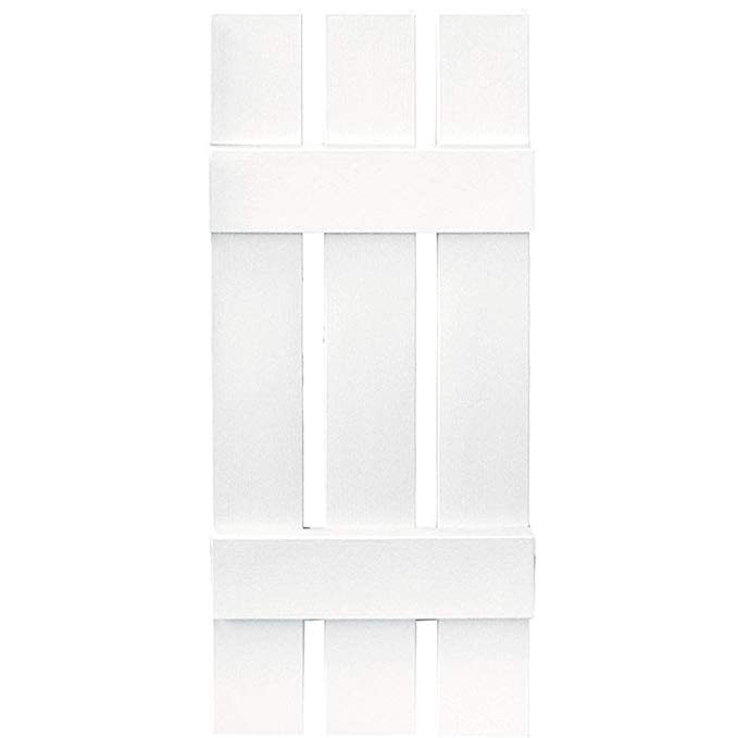 Builders Edge Board-N-Batten 3 Boards Spaced in Bright White - Set of 2 (12 in. W x 1 in. D x 55 in. H (8.38 lbs.))