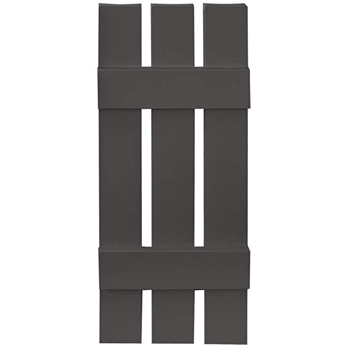 Builders Edge Board-N-Batten 3 Boards Spaced in Tuxedo Gray - Set of 2 (12 in. W x 1 in. D x 47 in. H (6.7 lbs.))