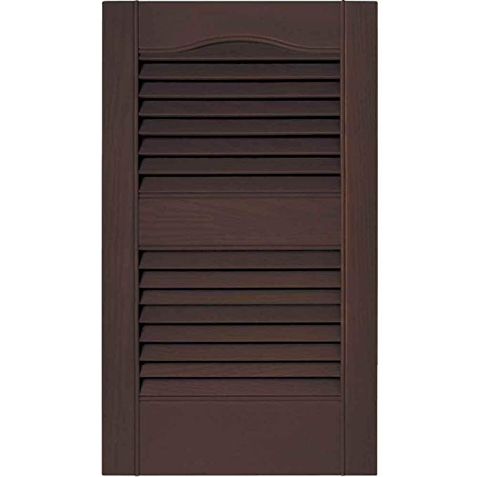 15 in. x 48 in. Louvered Shutters Pair in #009 Federal Brown