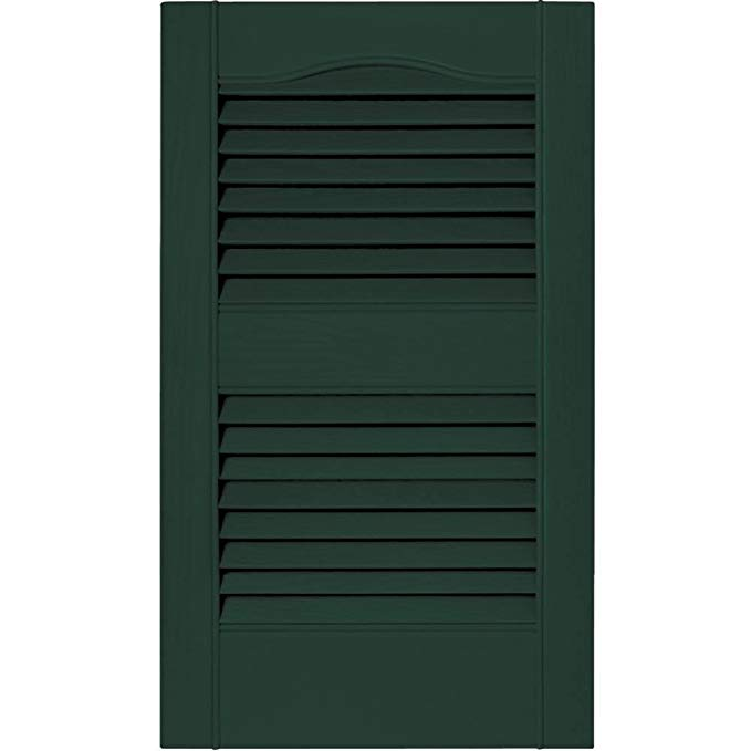 Builders Edge 15 in. Vinyl Louvered Shutters in Midnight Green - Set of 2 (14.5 in. W x 1 in. D x 67.09375 in. H (7.64 lbs.))