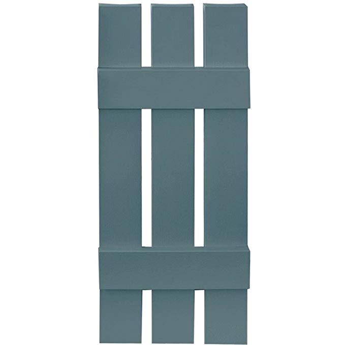 Builders Edge Board-N-Batten 3 Boards Spaced in Wedgewood Blue - Set of 2 (12 in. W x 1 in. D x 39 in. H (5.84 lbs.))