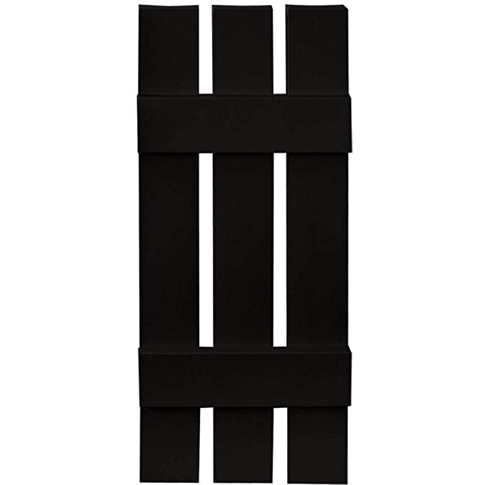 Builders Edge Board-N-Batten 3 Boards Spaced in Black - Set of 2 (12 in. W x 1 in. D x 55 in. H (8.38 lbs.))