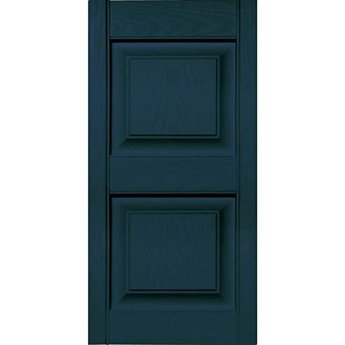 Builders Edge 12 in. Vinyl Raised Panel Shutters in Midnight Blue - Set of 2 (12 in. W x 1 in. D x 51 in. H (5.42 lbs.))