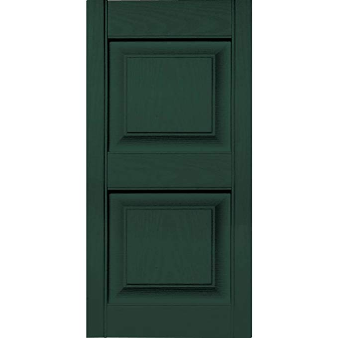 Builders Edge 12 in. Vinyl Raised Panel Shutters in Midnight Green - Set of 2 (12 in. W x 1 in. D x 55 in. H (5.76 lbs.))